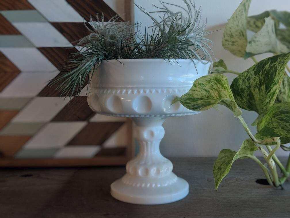 Vintage White milk glass compote serving