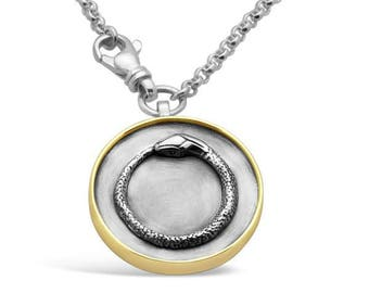 Sterling Silver   Gold Ouroboros Keychain 22536b13e