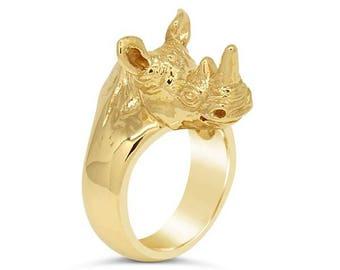 Yellow Gold Rhinoceros Ring