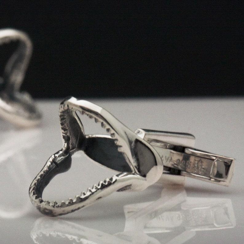 Sterling Silver Shark Jaw Bone Cufflinks MAVA Jewelry