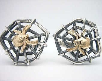 Silver Spider Web Cufflinks with 10K Yellow Gold Spider