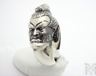 Sterling Silver Yokozuna Sumo Wrestler Fight Ring Bague