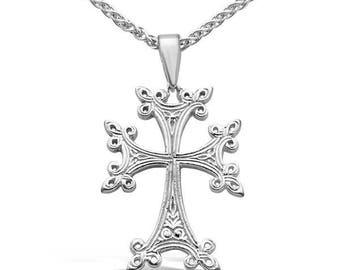 White Gold Armenian Cross Pendant