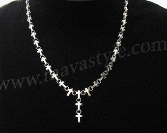 925 Sterling Silver Cross Necklace Rosary Collier Croix
