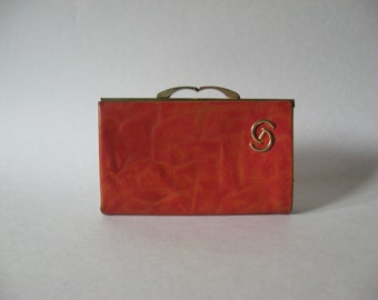 Delightful marbled orange textured leather vintage kisslock wallet Norfolk Canada gold detail