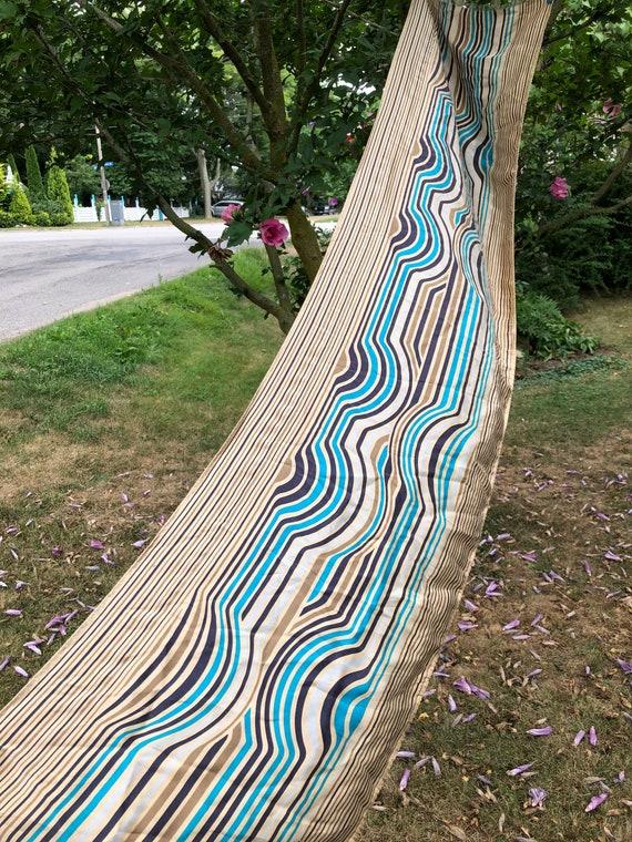 Missoni vintage silk scarf wavy stripes gold turqu