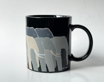 Vintage 80s Otagiri T. Taylor elephants ceramic mug coffee cup herd Tonkers