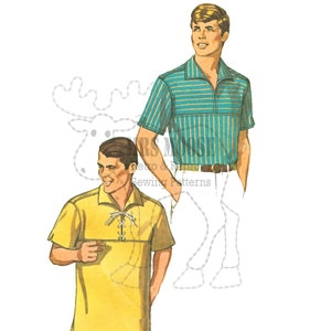 Men's Vintage Reproduction Sewing Patterns ROCKABILLY Mens pullover shirt with front yoke and Italian Collar - Repro vintage paper copy in Large Size. $21.61 AT vintagedancer.com