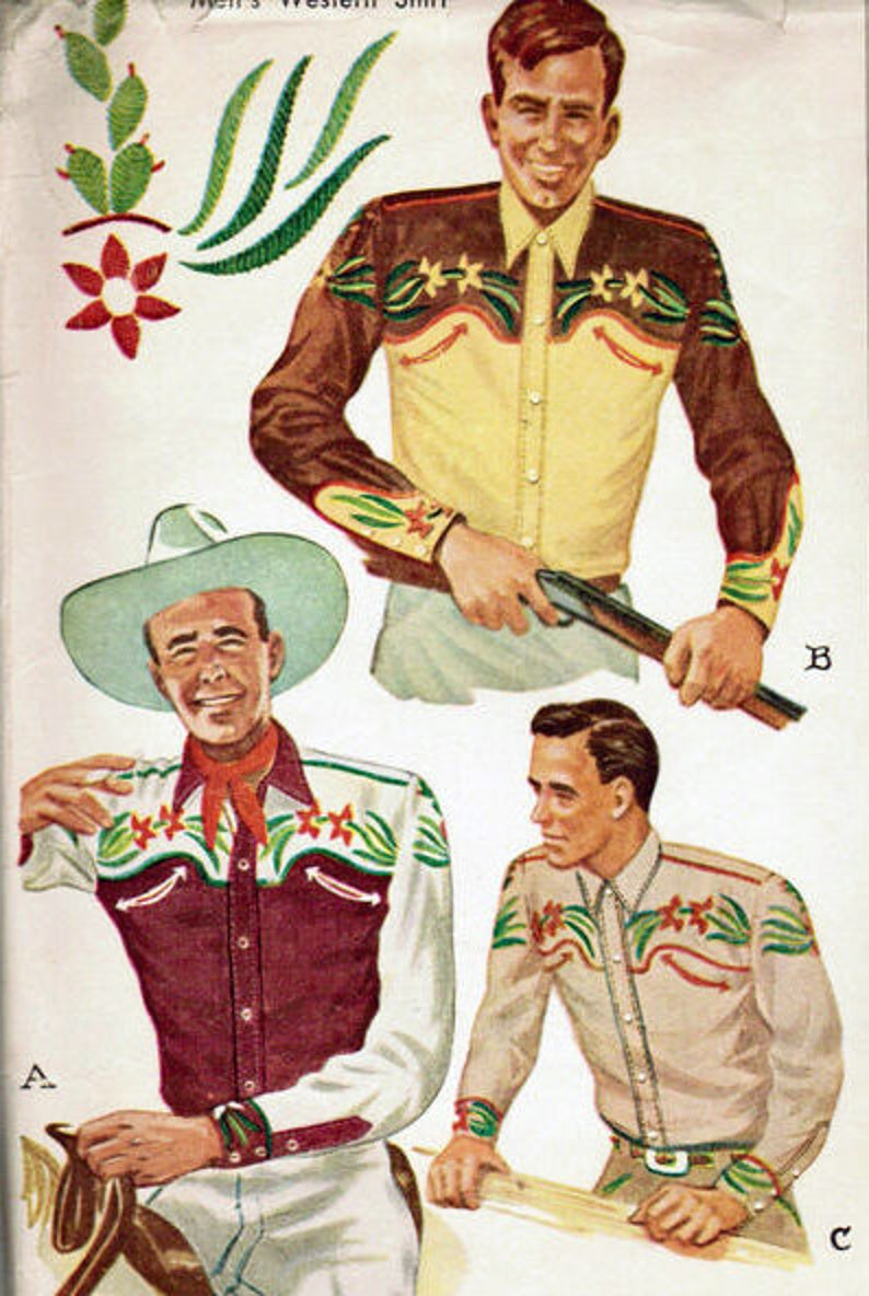 Men's Vintage Reproduction Sewing Patterns     1949 Men cowboy western shirt sewing pattern with cactus country embroidery Repro vintage copy with different sleeve options -chest 38 $25.74 AT vintagedancer.com