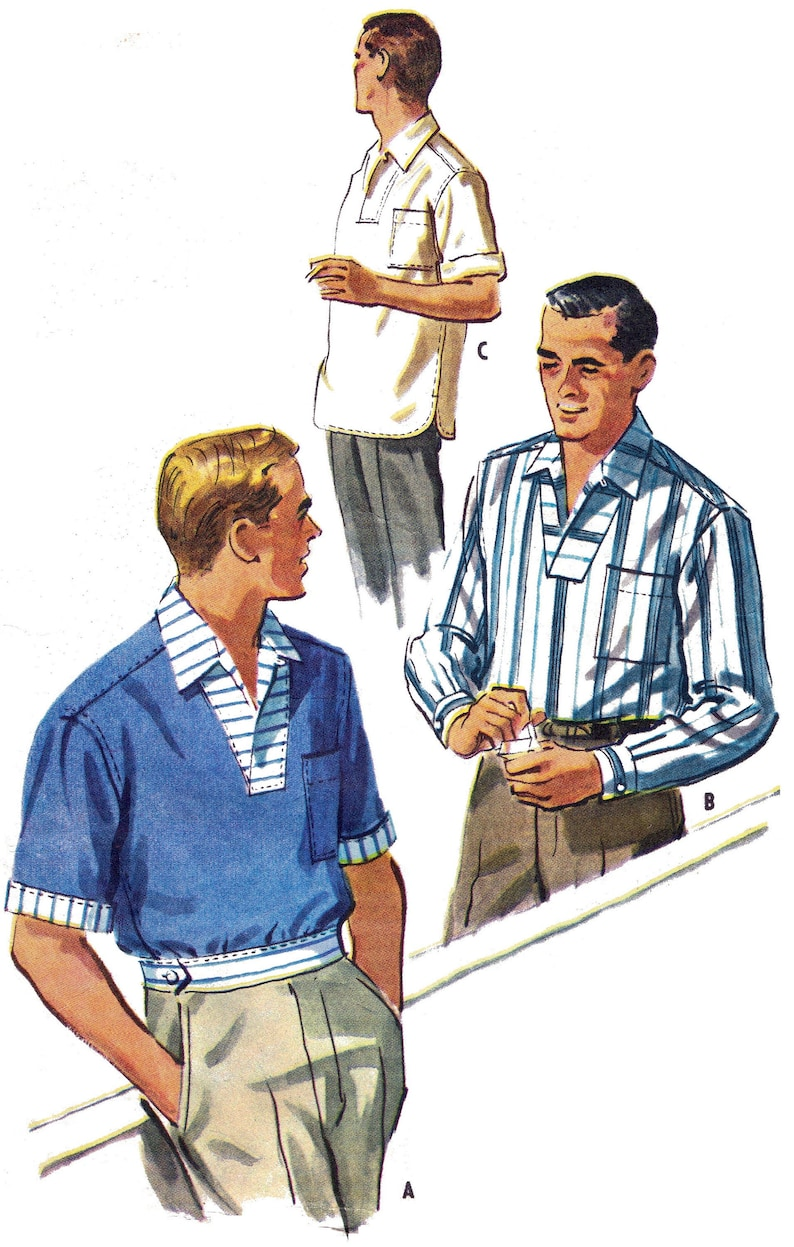 1950s Men's Clothing 1957 ROCKABILLY mens pullover shirt with wrapover collar sewing pattern - Repro vintage paper copy Medium 15-15 1/2 *Improved fit* $21.61 AT vintagedancer.com