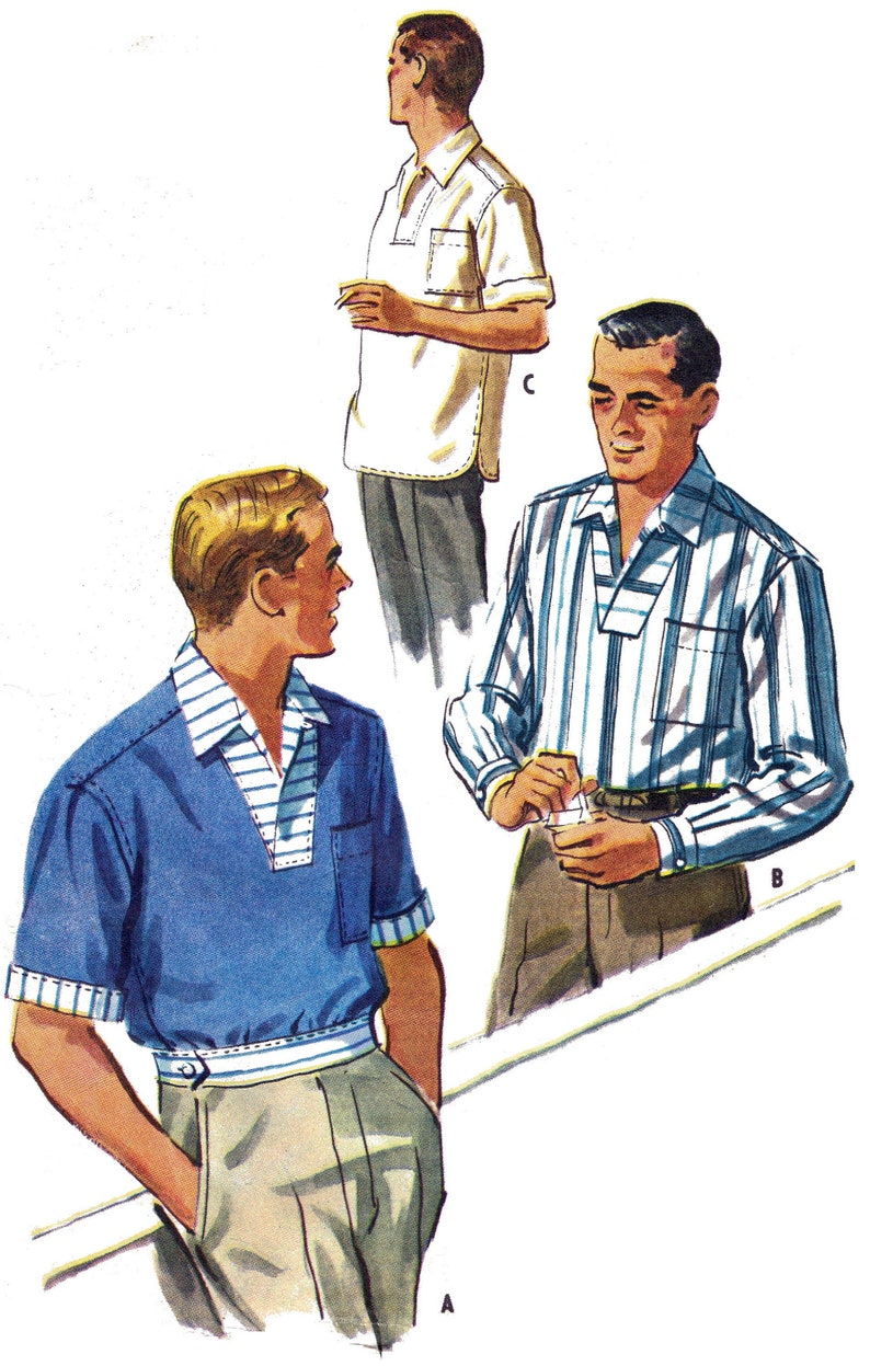 1950s Sewing Patterns | Dresses, Skirts, Tops, Mens 1957 ROCKABILLY mens pullover shirt with wrapover collar sewing pattern - Repro vintage paper copy Medium 15-15 1/2 *Improved fit* $21.61 AT vintagedancer.com