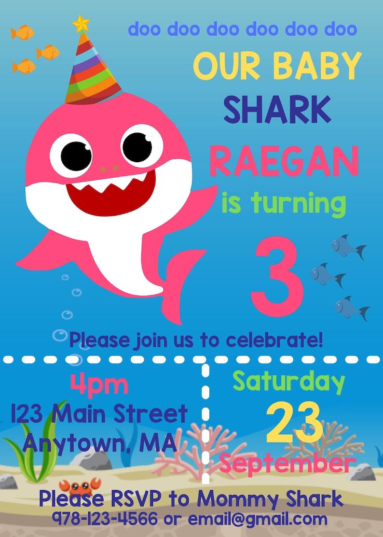 Baby Shark Digital Party Invitation image 0