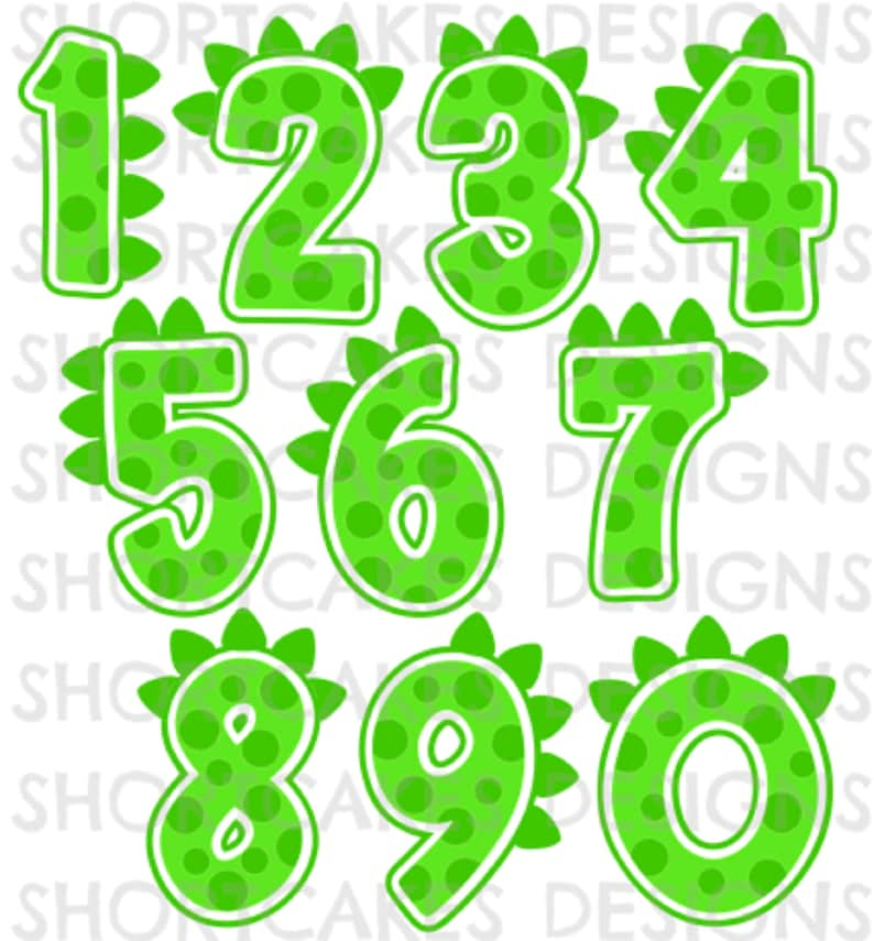 Digital Download Dino Numbers numbers only SVG/PNG/JPEG image 0