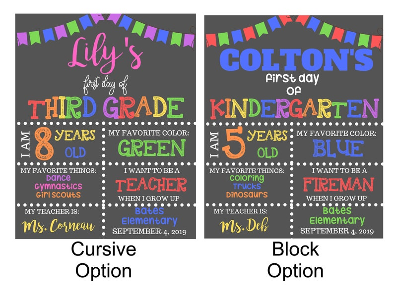 First Day of School/Back to School Chalkboard Sign  Digital image 0