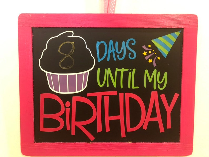 Birthday Countdown Chalkboard Sign image 0