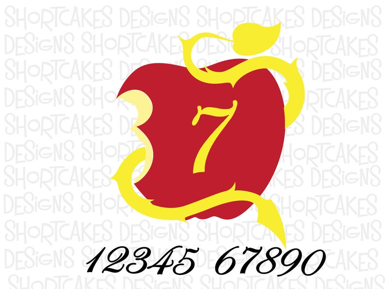 Digital Download Descendants Apple with Numbers SVG/PNG/JPEG image 0