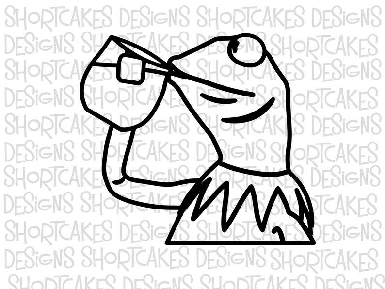 Digital Download Kermit the Frog Sipping Tea SVG/PNG/JPEG image 0