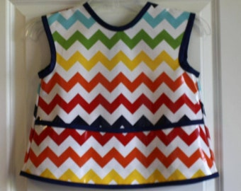 LAST ONE Sleevless Kids Art Smock Childrens Craft Apron with Rainbow Chevrons