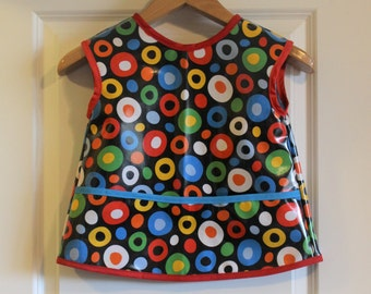 Sleevless Kids Waterproof Art Smock Childrens Craft Apron with Wonky Dot