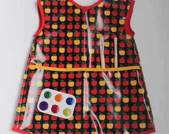 READY TO SHIP 4/5 Extra Long Kids Art Smock Waterproof Apron in Red and Yellow Apple Print
