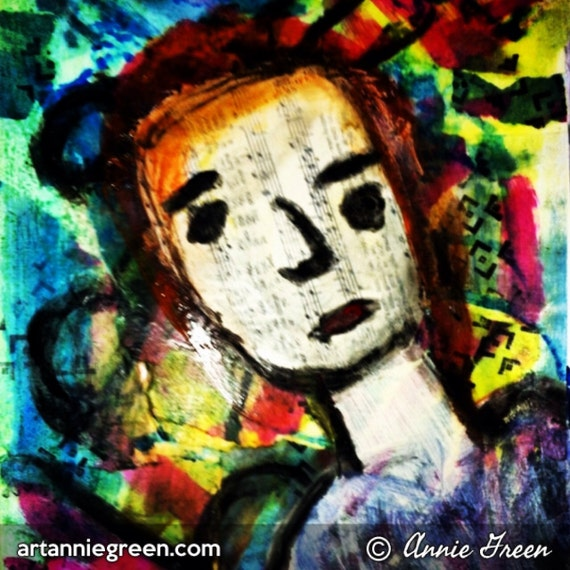 Outsider art, mixed media:  Portrait