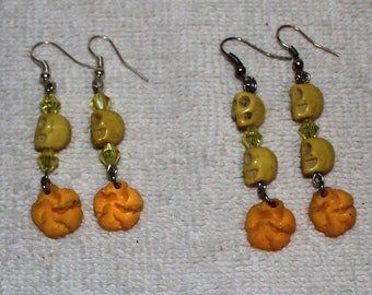 Day of the Dead Skull Earrings Yellows