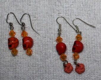 Day of the Dead Skull Earrings Oranges