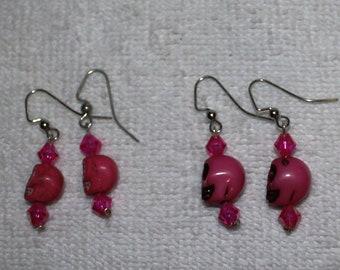 Day of the Dead Skull Earrings Pinks