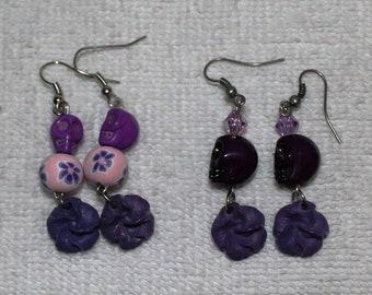 Day of the Dead Skull Earrings Purples