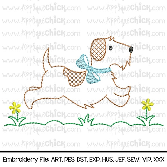 Vintage Running Puppy Embroidery Design Running Dog Etsy