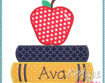 Books and Apple Applique Design