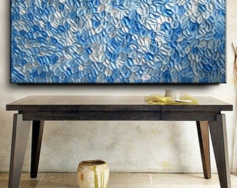 Abstract Texture Painting 60 x 30 Custom Original Modern Blue Silver White Metallic Knife Oil by Je Hlobik