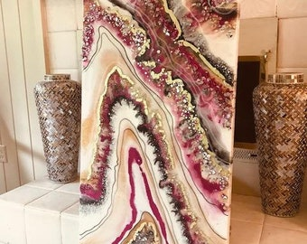 Geode Resin Glass Big Original Abstract Modern Ready Silver Pink White 24K Gold Liquid Leaf Flow Sold Earth Glass by  Je Hlobik