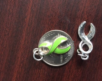 NEW!! One Large Lime Green Awareness Ribbon Charm/Pendant, Bright Silver