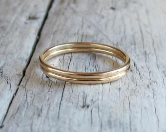 Gold rings set. Stacking rings. Set of 2 bands. Minimal rings, smoth plain bands.