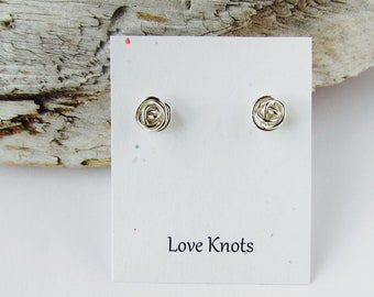 Bridesmaids earrings. Love knots, knot posts. Sterling silver studs, tie the knot, Wedding jewelry.