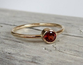Garnet ring. Gemstone ring. Gold or silver birthstone ring. January birthstone jewelry.