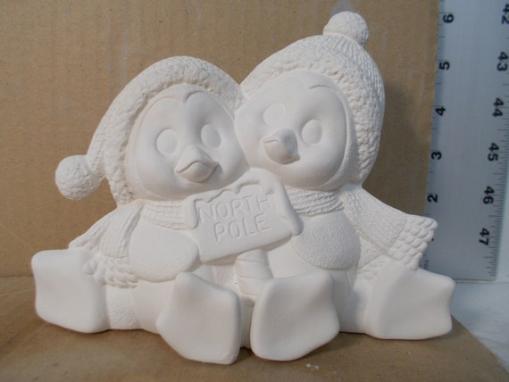 Penguin Cuddle Couple 7 w Ceramic Bisque Ready to Paint