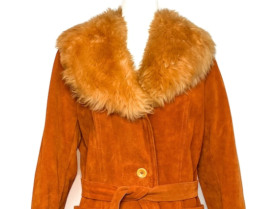 Vintage 1970s Suede Leather Coat with Faux Fur Col