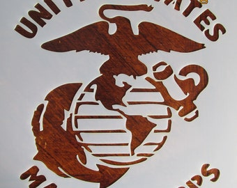 graphic relating to Printable Marine Corps Emblem identify Maritime corps stencil Etsy