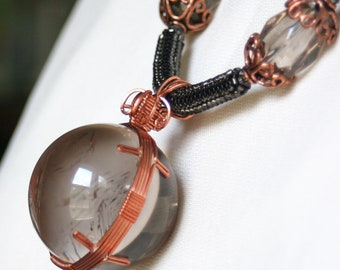 Smoky Quartz Sphere Statement Necklace with Smoke Delica seed beads, Swarovski Black Diamond crystals and Copper findings