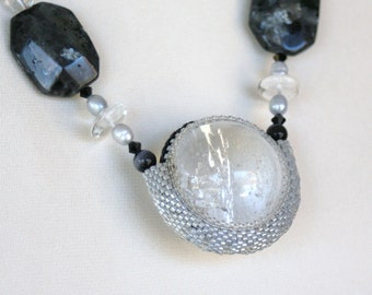 Crystal Quartz  Beadwork Sphere Necklace with Blue-flash Labradorite and Grey Pearls