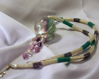 Fluorite Wire Wrapped Sphere Necklace with Beadweaving and Fluorite dangles