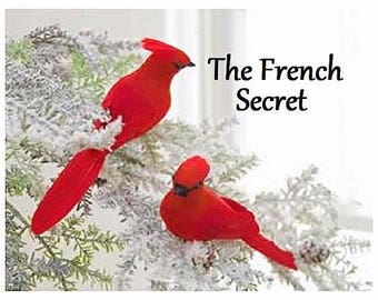 christmas 6 red cardinal bird ornament decoration feather tree shabby rustic french country wreath centerpiece artificial bird craft