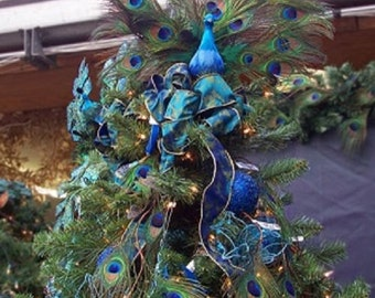 christmas peacock tree topper peacock ornament decoration centerpiece wreath peacock bird mantel rustic woodland tree topper