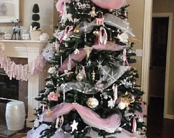 christmas pink tulle garland decor ribbon ornament shabby chic christmas tree centerpiece home vintage style