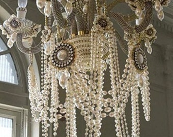Wedding Ivory Pearl Garland Decoration Pearl Beads Centerpiece Shabby Chic Manzanite Tree Wishing Tree