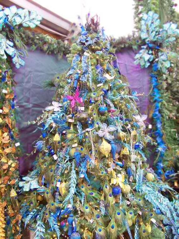 Christmas Tree Spray.Christmas 20 Peacock Feather Pick Spray Decoration Peacock Tree Topper Peacock Ornament Floral Stem Centerpiece Wreath Mantel