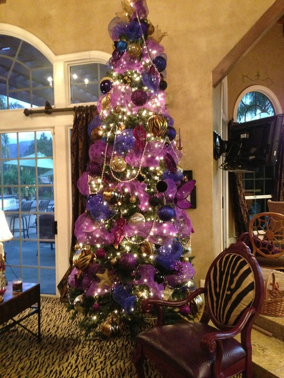 Christmas Purple Tulle Ribbon Garland Ornament Tree Topper Wreath Centerpiece Peacock Christmas Craft Mantel Table Top Shabby