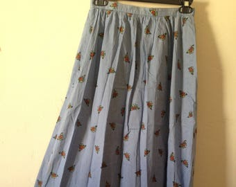 Vintage Butterfly Skirt High Waisted Maxi Long pockets 70s 80s